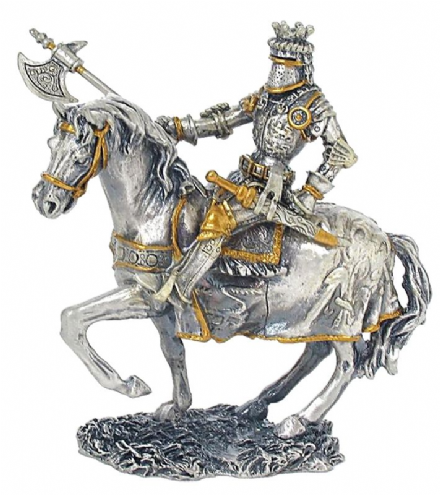 Mounted Knight with Axe & Crest Medieval Pewter Statue